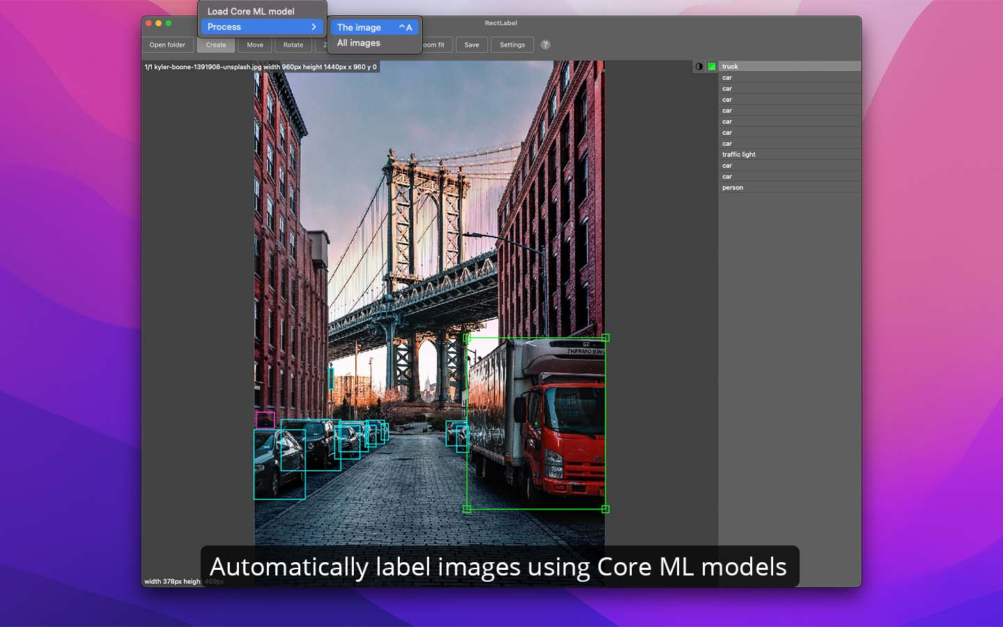 Automatically label images using Core ML models