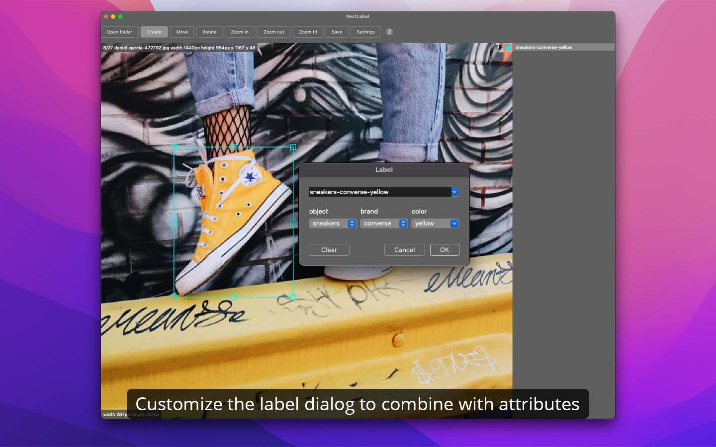 Customize the label dialog to combine with attributes