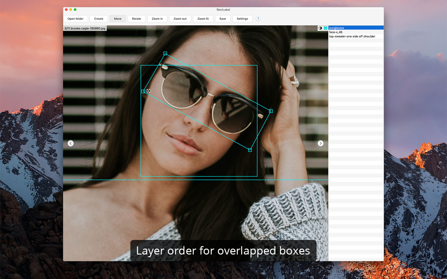 Layer order for overlapped boxes