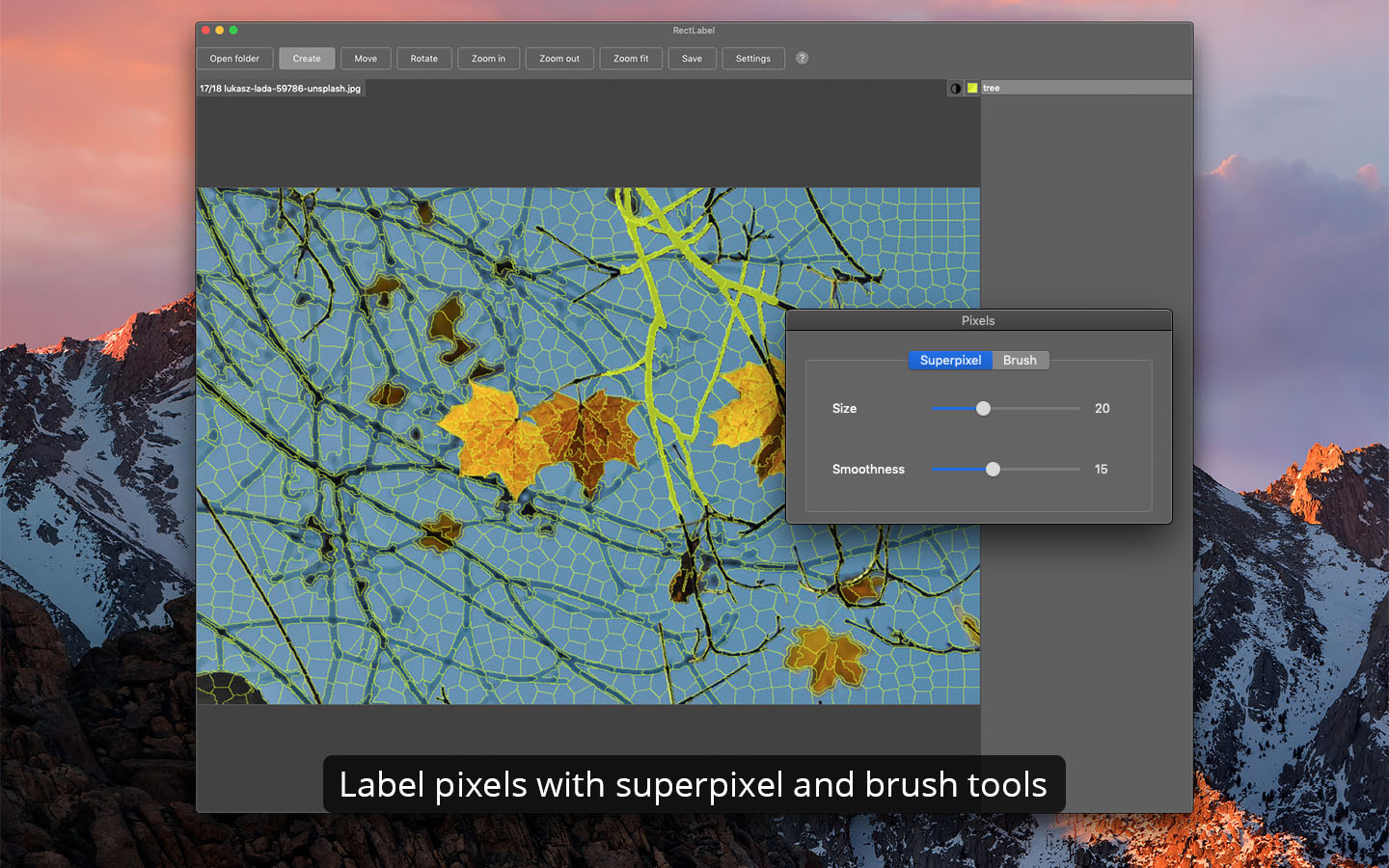 Label pixels with superpixel and brush tools