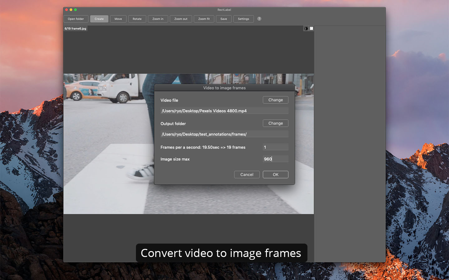 Convert video to image frames